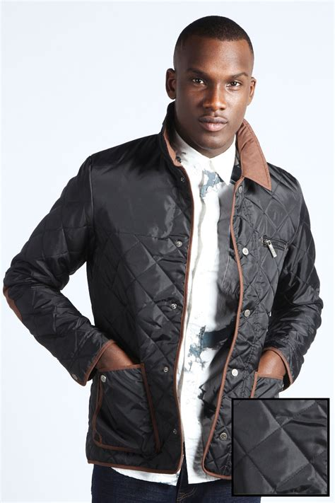 boohoo mens quilted jacket with cord trim and collar ebay