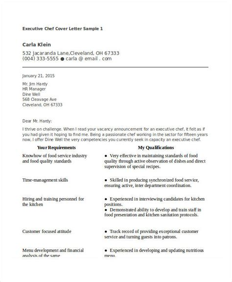 executive chef cover letter sle executive chef cover
