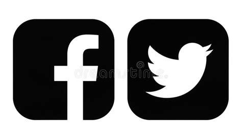 fotos en blanco y negro aplicacion iconos del negro de facebook y de twitter foto editorial