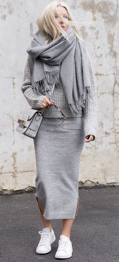 knit outfit all grey style everyday knit midi skirt