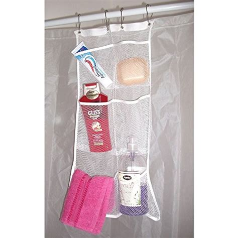 portable shower curtain rod hanb mesh shower caddy organizer hang on shower curtain