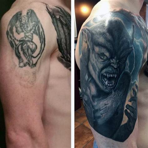 guy covered in tattoos cover up mens gargoyle arm tattoos tattoos