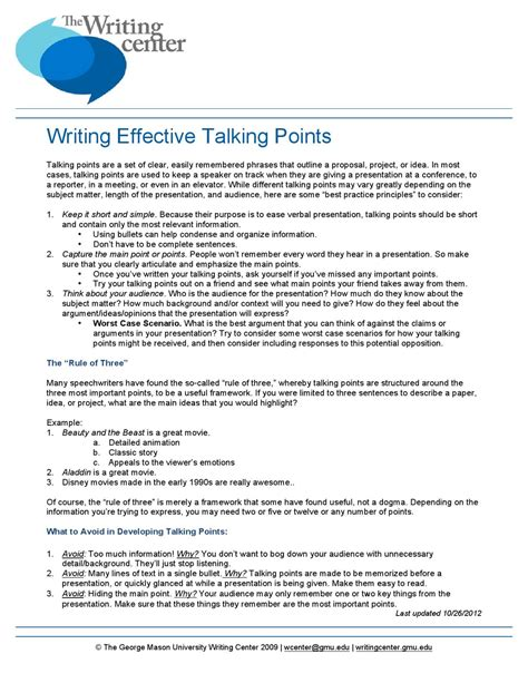 talking points template word writing effective talking points by writing center issuu