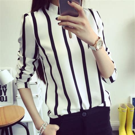 Hoodie Reigns Roffico Cloth casual hollow out sleeve striped chiffon blouse office shirts cloth tops in