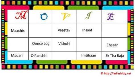 theme names in hindi bollywood movies tambola game party games pinterest