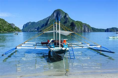Photographic Wall Murals the bay of el nido with outrigger boats bacuit