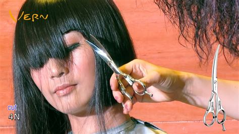 trimming bangs at an angle cut how to cut medium bob haircut with angled blunt bangs by