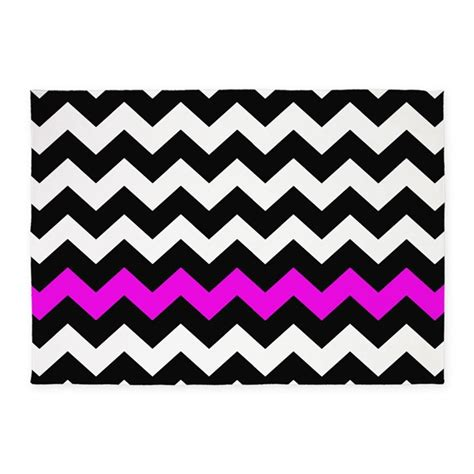 Hot Pink And Black Chevron 5 X7 Area Rug By Chevroncitystripes Pink Chevron Area Rug