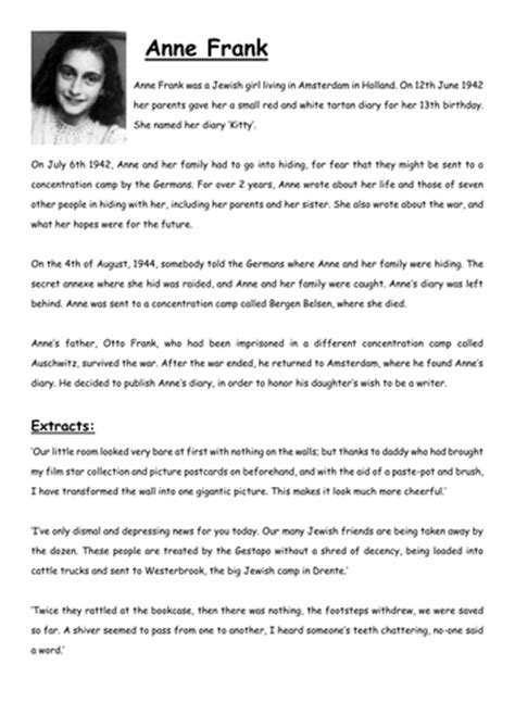 tes biography anne frank diary of anne frank act ii scenes 1 5 comprehension