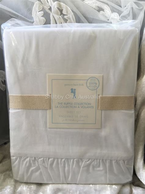 Pottery Barn Double Sheet Set Shabby White Ruffles Ruffled Pottery Barn Shabby Chic