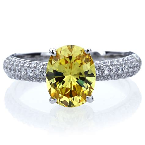 10mm platinum plated silver 2 5ct oval canary cz wedding