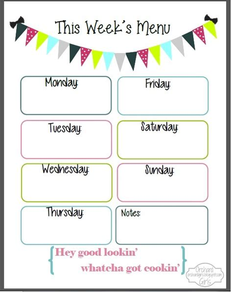 free printable weekly menu template orchard fix it up friday free organizational