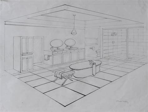 Bathroom Drawings by Master Bathroom Perspective Drawing By Rachwill13 On Deviantart