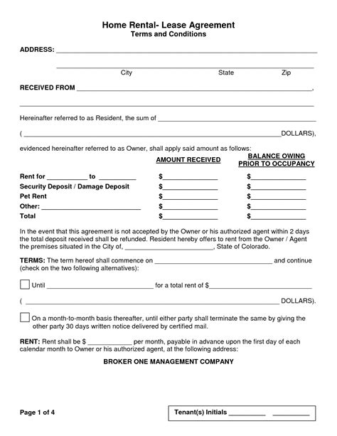florida home rental lease agreement form