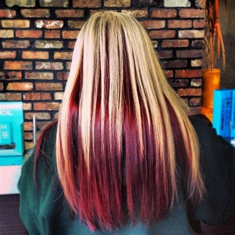 hairstyles blonde with red underneath blonde on top red underneath level 9 blonde on top with