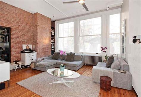 Marvelous Best Modern Living Rooms #7: Exposed-brick-white-walls-neutral-gray-furniture.jpg