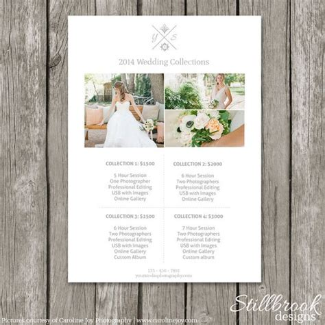Price List Photography Pricing And Templates On Pinterest Wedding Pricing Template