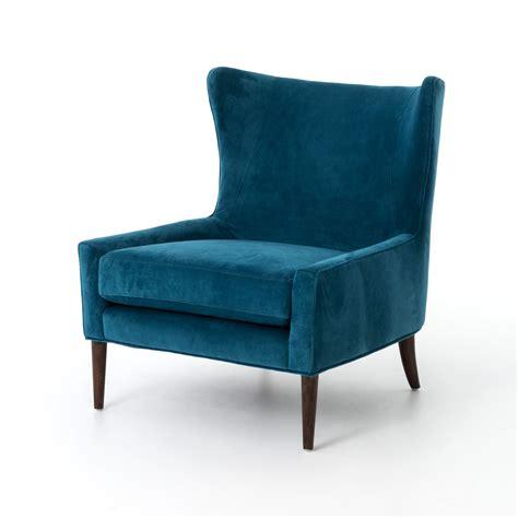 Design Tree Home Velvet Blue Marlow Wingback Chair