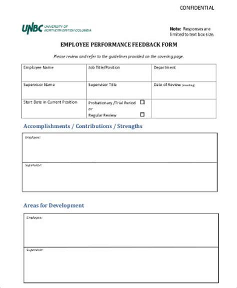employee feedback form template 8 sle employee feedback forms sle templates