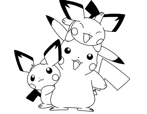 pokemon coloring pages pichu pokemon pikachu and two friends are cute coloring page