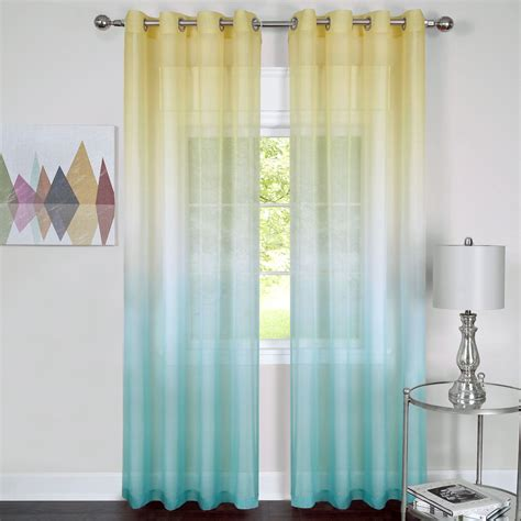 ombre sheer curtains turquoise rainbow semi sheer ombre grommet curtain panels