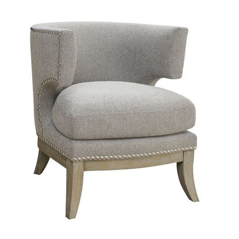 Blue Upholstered Bar Stools by Coaster Barrel Back Upholstered Accent Chair In Gray 902560