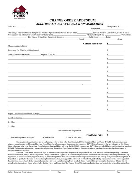 construction change order form template best photos of contractor work order form template