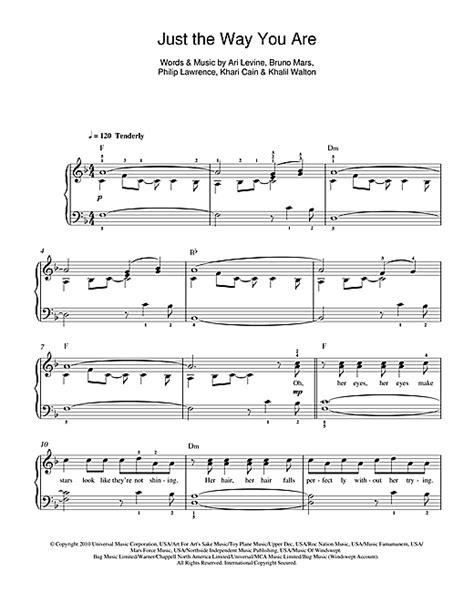 Just The Way You Are partituras por Bruno Mars (Piano para