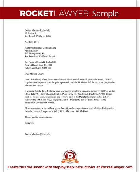 Insurance Letter For Claiming Insurance Proceeds Letter Template With Sle