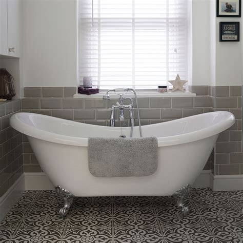 roll top bath bathroom ideas bathroom with roll top bath and patterned floor tiles