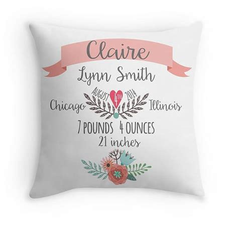 birth announcement pillow personalized baby pillow baby