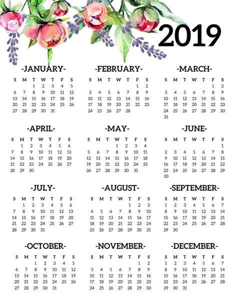 printable  calendar yearly  page floral printable calendar template printable