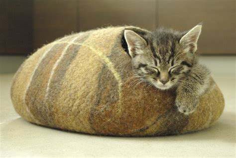 cat cave bed cat bed cat cave cat house brown felted cat cave with gift