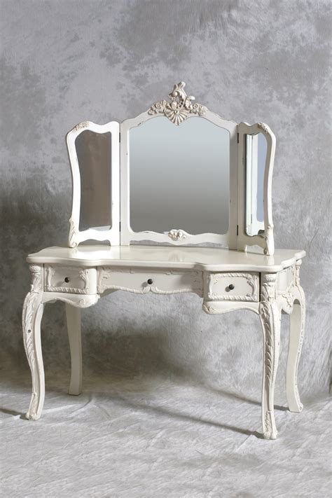 White Vintage Vanity Table Large Dressing Table Set