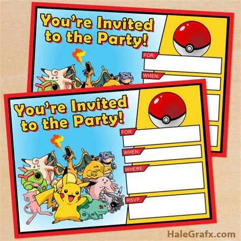 free printable pok 233 mon birthday invitation