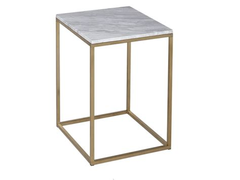 Square Side Table Kensal Marble With Brass Base Square