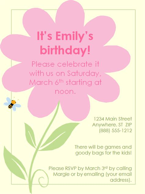 birthday invites template flower birthday invitation template