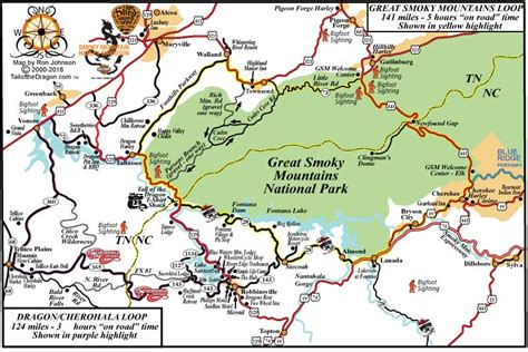 smoky mountains map smoky mountain loop of the maps