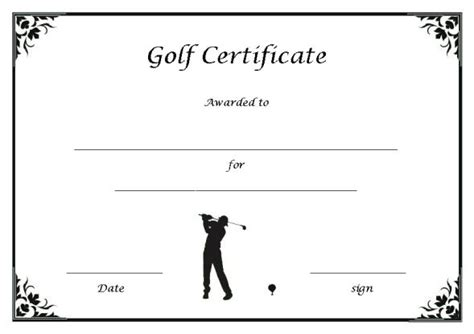 golf gift card template adorable golf certificates for professional players free
