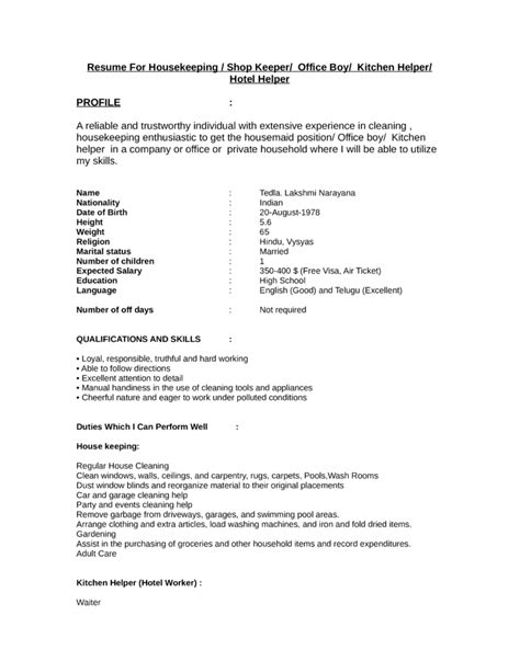 Sample Resume Format For Domestic Helper by Objectives For Resume Domestic Helper 28 Images
