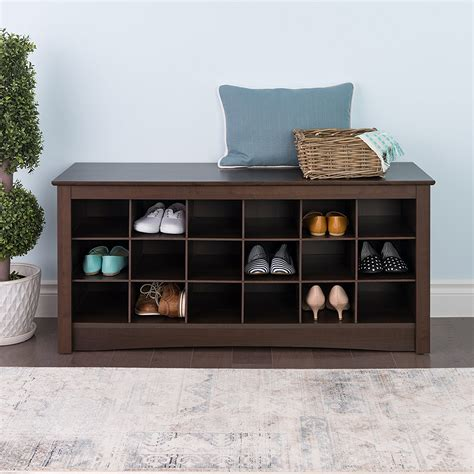 bench with shoe storage shoe storage cubbie entryway bench espresso organizer rack