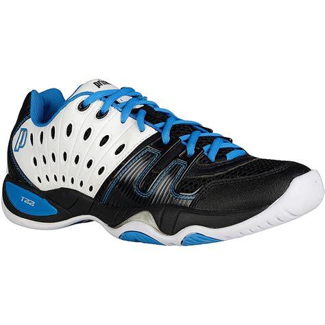 prince t22 s tennis shoes black white blue