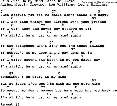 my lyrics williams country he s just on my mind leona williams lyrics