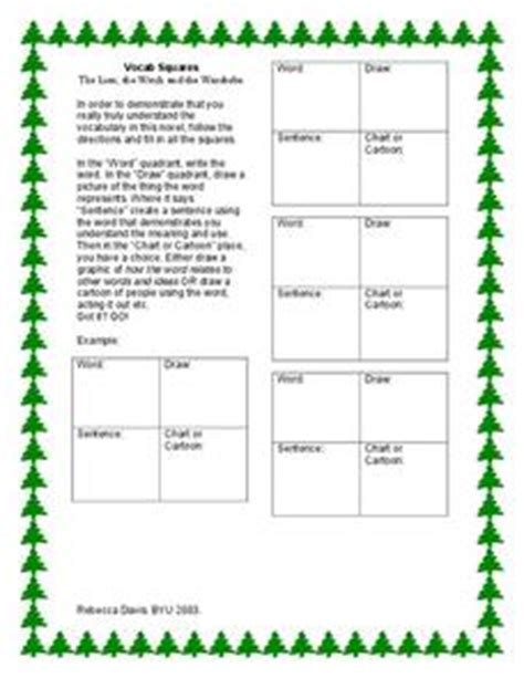 The The Witch And The Wardrobe Lesson Plans Activities by The The Witch And The Wardrobe Vocab Squares 6th