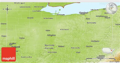 physical map of ohio physical panoramic map of ohio