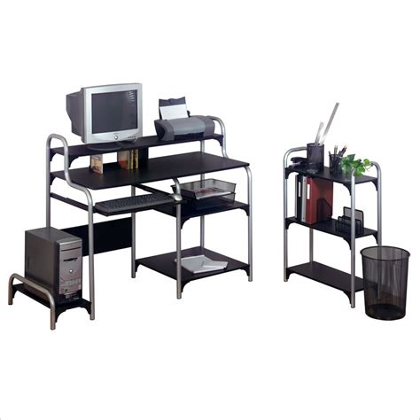 black and silver computer desk ameriwood metal frame w bookcase black silver computer
