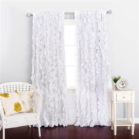 White Darkening Curtains White Ruffle Blackout Curtains Home Design Ideas
