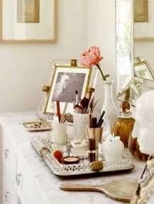 glamorous and tidy makeup tray on a beautiful dressing