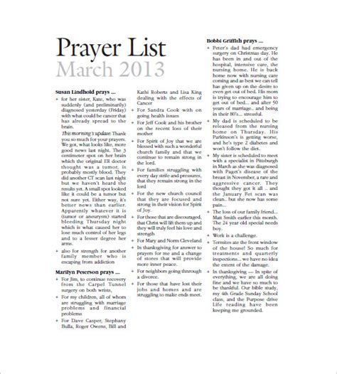 prayer list template 8 free sle exle format