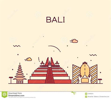 indonesia detailed skyline vector illustration stock bali skyline trendy vector illustration linear stock